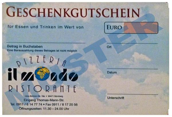 Geschenkgutschein des italienischen Restaurant il mondo Nürnberg